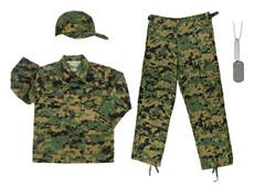 Woodland Digital Camo Cap, Woodland Digital BDU Shirt, Woodland Digital BDU Pants, Army Dog Tags with Engraving and chains