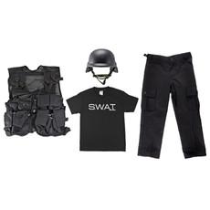 Kids BDU Pants - Black, Kids T-Shirt - SWAT Insignia, M88 Replica Helmet - Black, Kids Army Combat Vest - Black