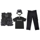 Kids BDU Pants - Black, Kids T-Shirt - SWAT Insignia, M88 Replica Helmet - Black, Kids Army Combat Vest - Black