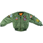 Kids Army MA-1 Jacket with Insignia Patches - Front