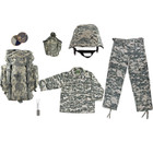 ACU Face Paint Compact, Army Style Dog Tags with Engraving, M88 Replica Helmet with ACU Digital Camouflage Cover, Kids ACU Digital Camouflage BDU Shirt, Kids ACU Digital Camouflage BDU Pants, Kids-Army ACU Digital Camouflage Rucksack, One Quart Canteen with ACU Digital Camouflage Cover