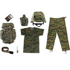M88 Helmet with Woodland Digital Cover, Woodland Digital T Shirt, Woodland Digital BDU Pants, Woodland Digital Rucksack, 5 color Woodland Face Paint Compact, Woodland Digital Adjustable Belt, Army Dog Tags with Engraving and chains, Canteen with Woodland Digital Cover
