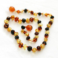 Children's 100% Baroque Multi Colour Baltic Amber Childs Healing Necklace  33cm **FREE SHIPPING**