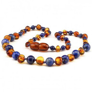 Children's 100%  Baltic Amber and Lapis Lazuli Childs Healing Necklace  33cm  -**FREE SHIPPING**