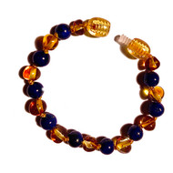 Children's 100% Genuine Baltic Amber and Lapis Lazuli Childs Healing Anklet (14 or 15cm)