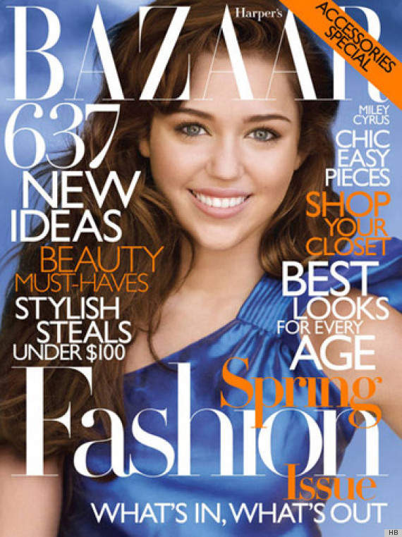 Miley Cyrus with her hair extensions on front cover of Harpers Bazaar in 2010