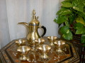 Brass Arabic & Bedouin Style Coffee Set with Cups Holder