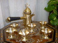 Unique Brass Turkish Syrian Coffee Maker Pot & Cups Holder Coffee Maker Set Art