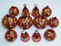 Red Hand Painted Glass Christmas Hanging Ornament Set