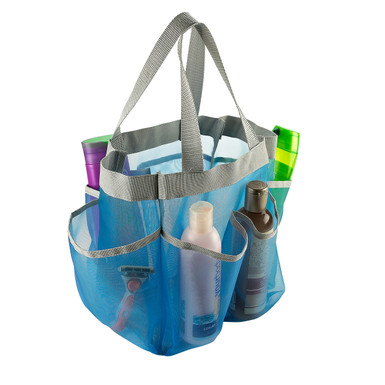 Mesh Shower Caddy Tote 7 Pockets Assorted Colors