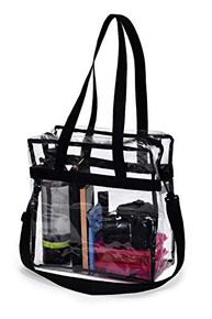 """Clear Tote Bag - NFL Stadium Approved - 12"""" X 12"""" X 6"""" With shoulder Strap"""