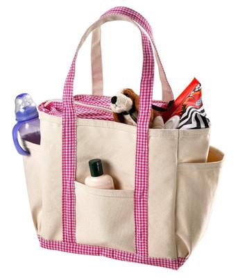 Pink Gingham Trim Diaper Bag
