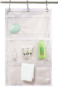 Shower Curtain Bathroom Organizer - 9 Mesh Pockets