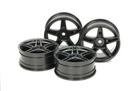 RC 24MM MED-NARROW 5 SP WHEELS Black/Offset +2 (4Pcs)