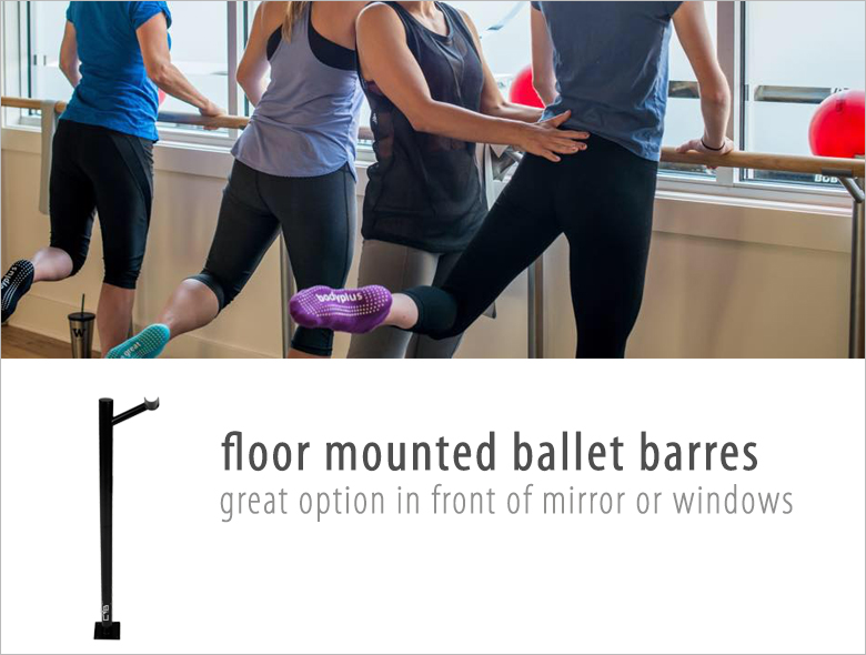 shop floor mounted ballet barre, Oak Ballet Barre, Maple Ballet Barre, Ash Ballet Barre, floor mounts for barres, free standing ballet barre