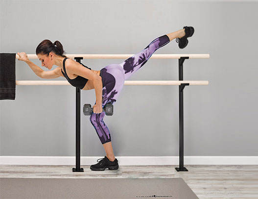 Custom Barres Frappe Double - Double Floor Mounted Dance Barre Brackets - best ballet barres