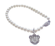 Pearl Bracelet with Crest Charm