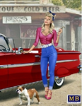 Masterbox Models - 1950-60's Girl in Tight Jeans/Low Cut Blouse Walking Her Dog