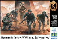 Masterbox Models - German Infantry on the Move Under Fire, WWII Era Early