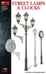 Miniart Models  - Assorted Street Lamps (3) & Clocks (2)