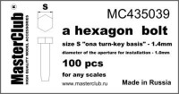 Masterclub Hexagon standard bolt head, head 1.4mm aperture 1.0mm 100 pcs.