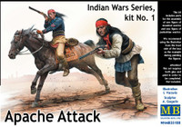 Masterbox Models - Apache Attack Indians w/Rifles (2) & Horse (1)
