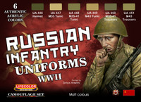 Lifecolor - 	Russian WWII Infantry Uniforms Acrylic Set - SALE