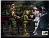 Masterbox Models - Spaceport: Armed Soldier w/Heavy Gun, Robot & Android Waitress Holding tray/drinks