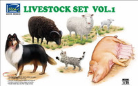 Riich Models - Livestock Set Vol.1: Sheep, Ram, Pigs w/Piglets, Dog, Cat