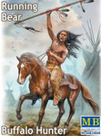 Masterbox Models - Running Bear Buffalo Hunter Indian Holding Spear Riding Horse