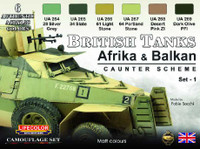 Lifecolor - British WWII Tanks Afrika & Balkan Caunter Scheme #1 Acrylic Set
