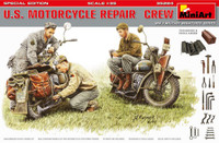 Miniart Models - US Motorcycle Repair Crew (3) w/2 Motorcycles, Tools & Boxes (Special Edition)