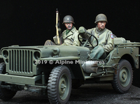 Alpine Miniatures - WW2 US Infantry, Jeep Crew Set