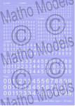Matho Models - Multi-Scale White Small Type 1 Numbers Decal
