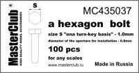 Masterclub - Hexagon standard bolt head, head 1.0mm aperture 0.8mm 100 pcs.