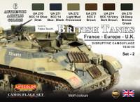 Lifecolor - British Tanks France, Europe, UK 1936-45 Disruptive #2 Camouflage Acrylic Set