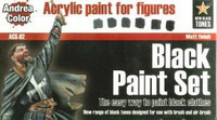 Andrea Miniatures - Black Paint Set