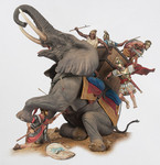 Andrea Miniatures: Series General - Carthaginian War Elephant Down (Zama, 202 BC)