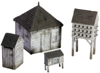 Wm. Britain: American Civil War: 18th/19th Century American Farm Outbuilding Set #1