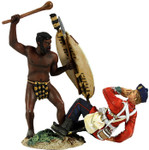 "Wm. Britain - ""Overwhelmed"" Zulu Warrior Attacking British 24th Foot with Knobkerri Hand-To-Hand Set"