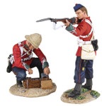 """Wm. Britain: Anglo Zulu War: """"More Ammo!"""" British 24th Foot in Glengerry Standing Firing and British 24th Foor Opening Ammo Box"""