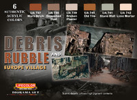Lifecolor Debris Rubble & Europe Village Diorama Acrylic Set