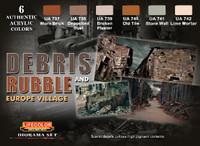 Lifecolor Debris Rubble & Europe Village Diorama Acrylic Set