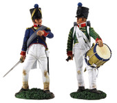 Wm. Britain - French Infantry Command Set: French Infantry Drummer No. 2 & French Line Infantry Officer No. 2