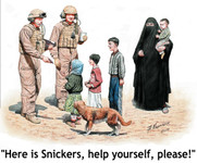 Masterbox Models - Here is Snickers! US Soldiers, Eastern Woman w/Children & Dog
