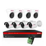 BTG 8CH 4K NVR 8 Cameras Security Camera System Built-in PoE with Outdoor 5MP Surveillance IP PoE 4 Bullet + 4 Dome Cameras HD 2592 x 1944 IR CCTV System H265 2TB HDD