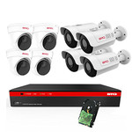 BTG 8CH 4K NVR 8 Cameras Poe Security Camera System Built-in PoE with Outdoor 5MP Surveillance IP PoE 4 Dome + 4 Varifocal Bullet Cameras HD 2592 x 1944 IR CCTV System H265 2TB HDD