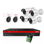 BTG 8CH 4K NVR 6 Cameras Security Camera System Built-in PoE with Outdoor 5MP Surveillance IP PoE 4 Bullet + 2 Dome Cameras HD 2592 x 1944 IR CCTV System H265 2TB HDD