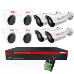 BTG 8CH 4K NVR 8 Cameras Poe Security Camera System Built-in PoE with Outdoor 5MP Surveillance IP PoE 4 Varifocal Dome + 4 Varifocal Bullet Cameras HD 2592 x 1944 IR CCTV System H265 2TB HDD