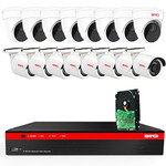 BTG 16CH 4K NVR 12 Cameras Security Camera System Built-in PoE with Outdoor 5MP Surveillance IP PoE 8 Bullet + 8 Dome Cameras HD 2592 x 1944 IR CCTV System H265 2TB HDD